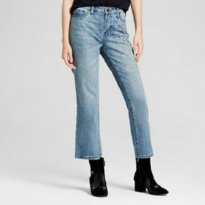 Who What Wear straight leg pearl embellished jean